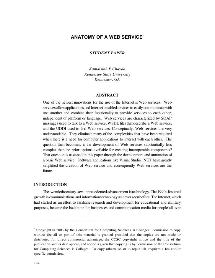 ANATOMY OF A WEB SERVICE*                                         STUDENT PAPER                                       Kama...