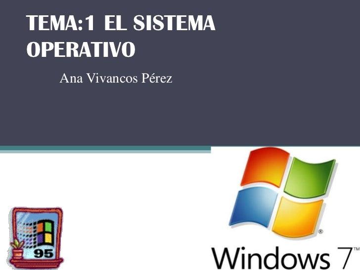 TEMA:1 EL SISTEMAOPERATIVO   Ana Vivancos Pérez