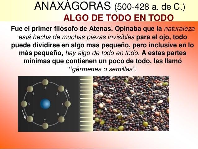 ANAXÁGORAS (500-428 a. de C.) ALGO DE TODO EN TODO Fue el primer filósofo de Atenas. Opinaba que la naturaleza está hecha ...