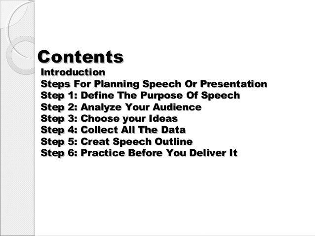 Planing speech or presentation