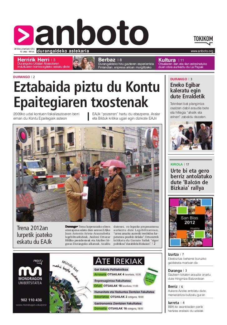 2012ko urtarrilaren 27a   Herririk Herri                       anboto     10. urtea - 444 zk.   durangaldeko astekaria    ...