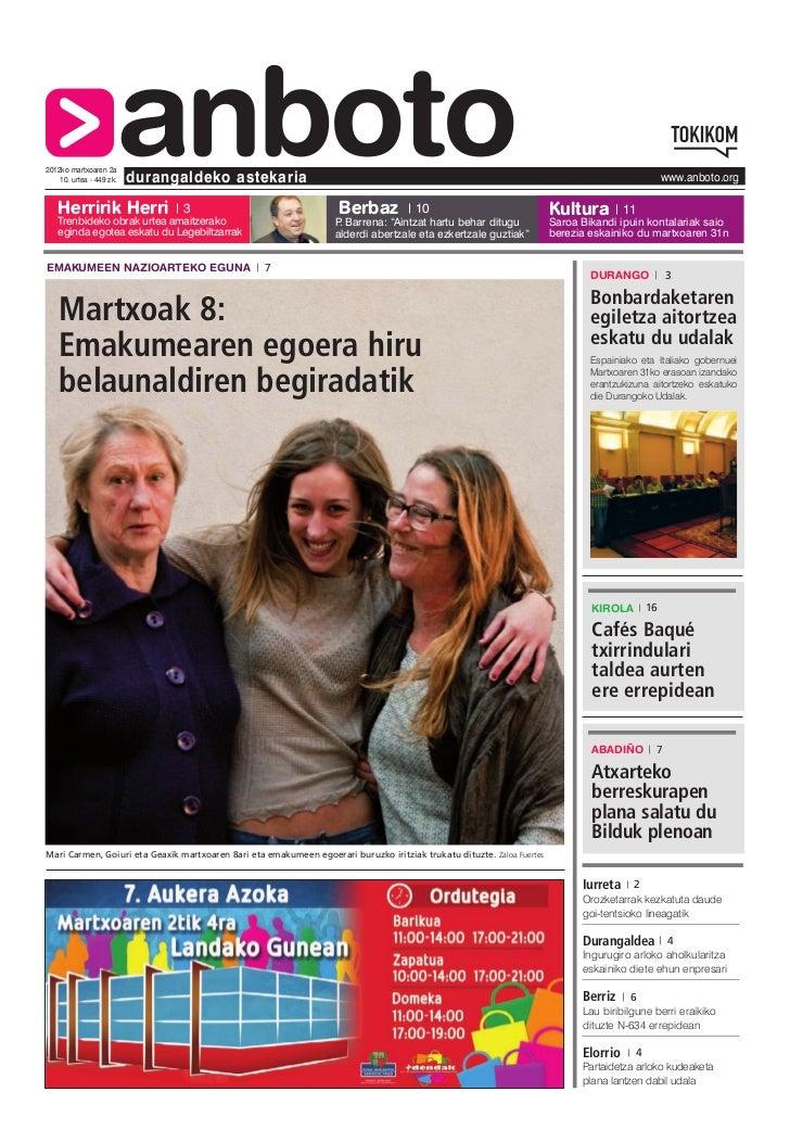 2012ko martxoaren 2a   Herririk Herri                      anboto    10. urtea - 449 zk.   durangaldeko astekaria         ...