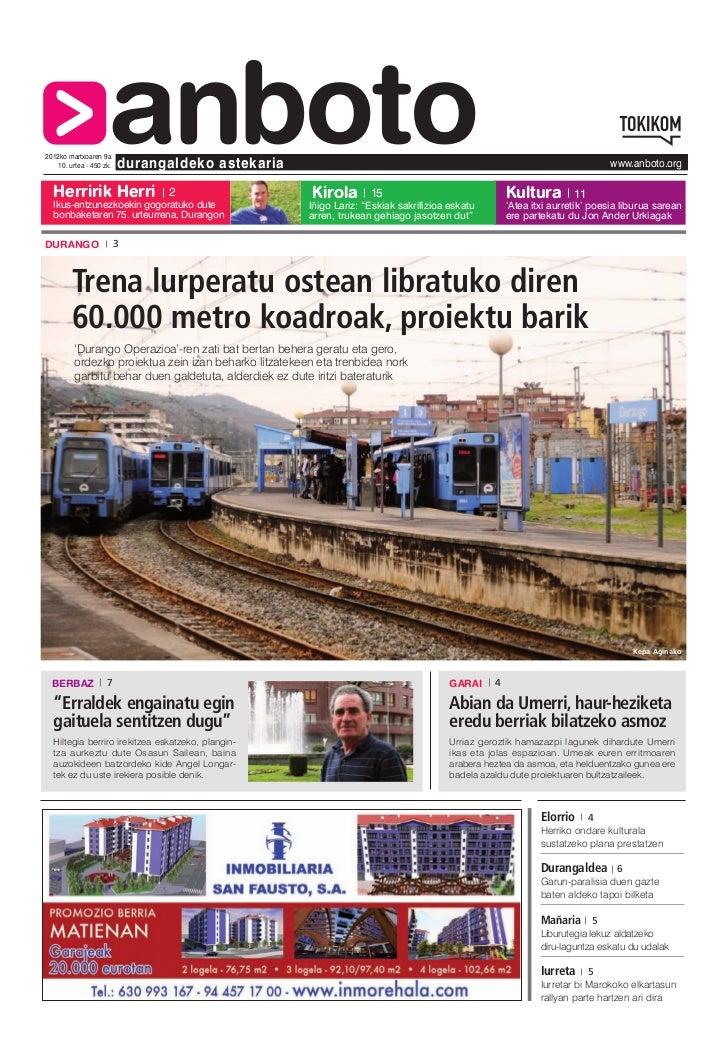 2012ko martxoaren 9a  Herririk Herri                     anboto    10. urtea - 450 zk.   durangaldeko astekaria           ...