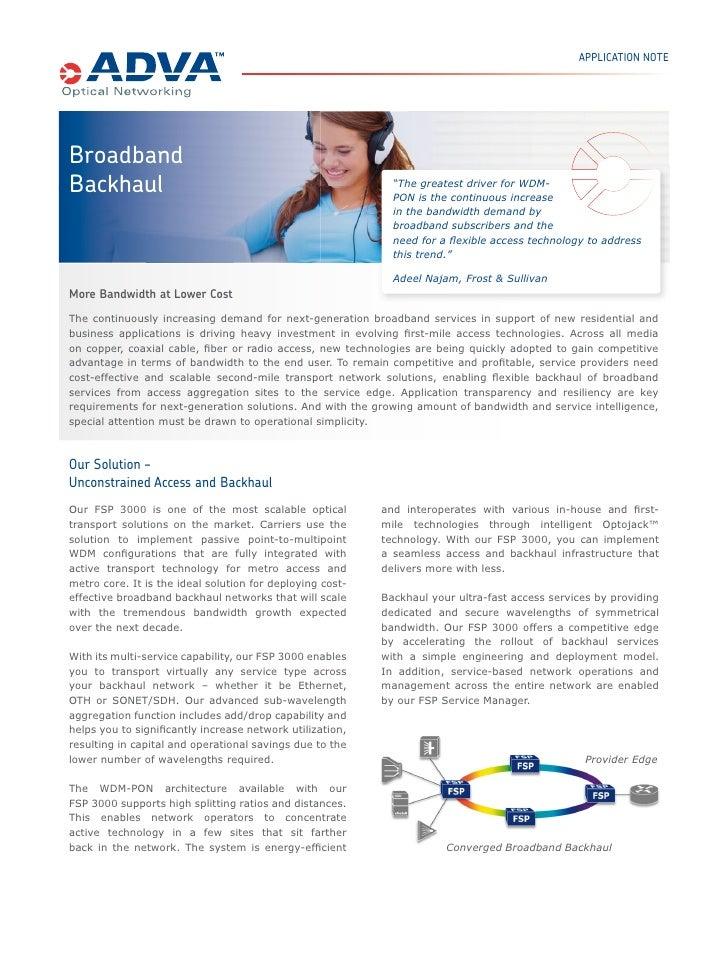 BROADBAND BACKHAUL THE FIBER SERVICE PLATFORM               The continuously increasing demand for next-generation broadba...