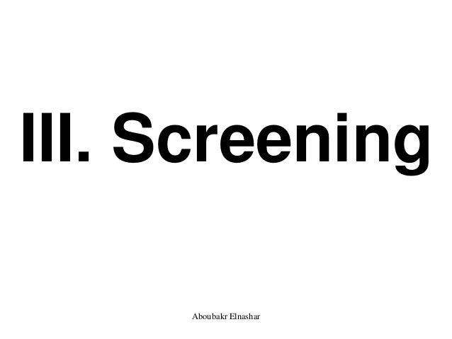 III. Screening Aboubakr Elnashar