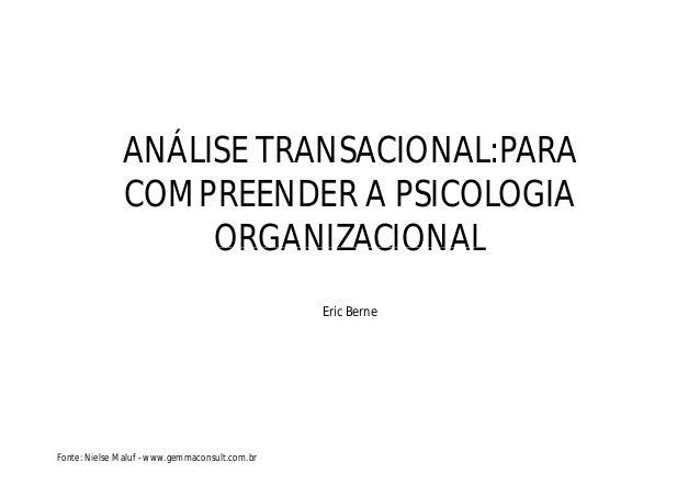 ANÁLISE TRANSACIONAL:PARA COMPREENDER A PSICOLOGIA ORGANIZACIONALORGANIZACIONAL Eric Berne Fonte: Nielse Maluf - www.gemma...