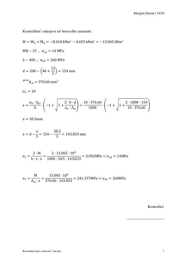 Mergim Emini | 74/10  Kontrollimi i nderjeve në beton dhe armaturë:  (  )  (  √  )  (  √  )  Kontrolloi: _________________...