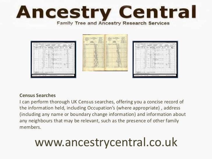 Census SearchesI can perform thorough UK Census searches, offering you a concise record ofthe information held, including ...