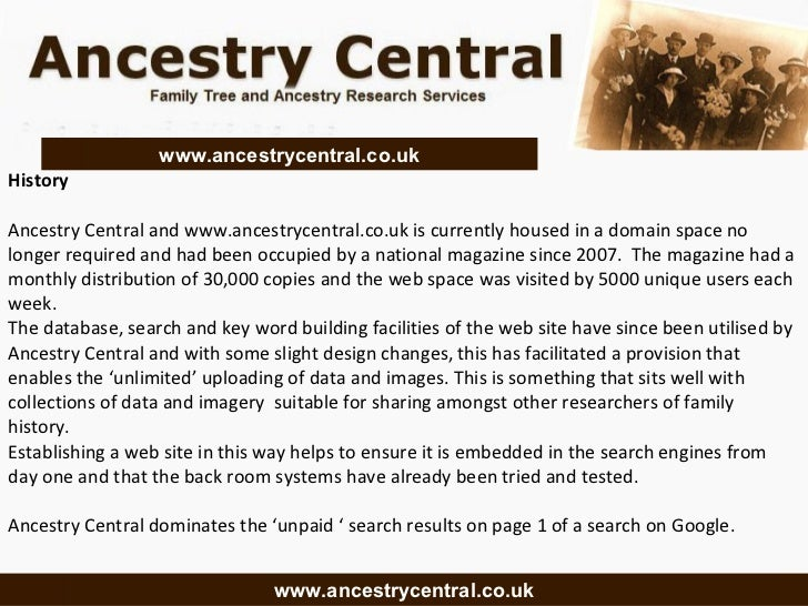 History Ancestry Central and www.ancestrycentral.co.uk is currently housed in a domain space no longer required and had be...