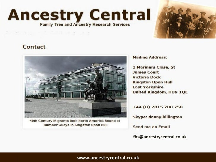 [email_address] www.ancestrycentral.co.uk