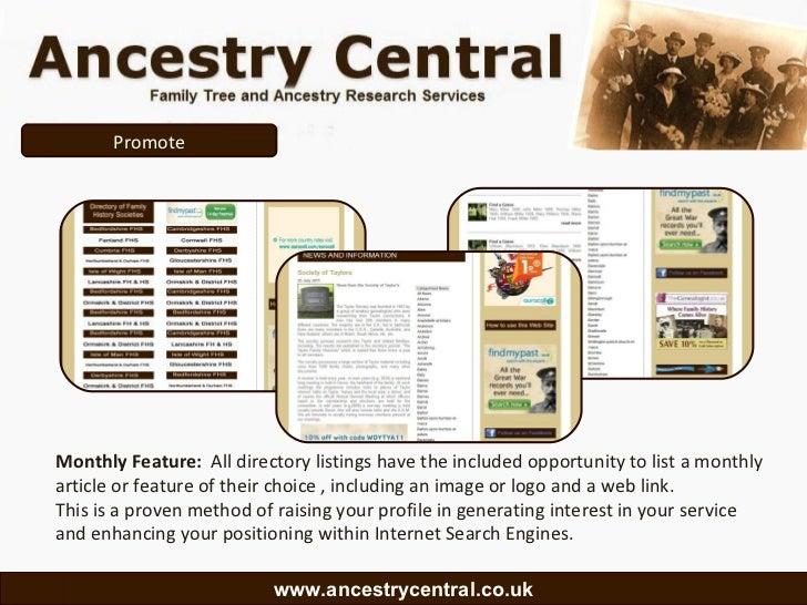 Ancestry central , a media presentation for fhs and onss Slide 3