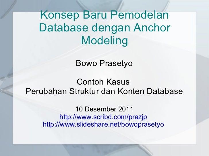 Konsep Baru Pemodelan Database dengan Anchor Modeling Bowo Prasetyo Contoh Kasus  Perubahan Struktur dan Konten Database 1...