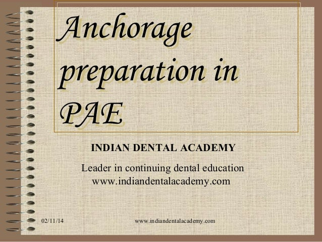 Anchorage preparation in PAE INDIAN DENTAL ACADEMY Leader in continuing dental education www.indiandentalacademy.com  02/1...