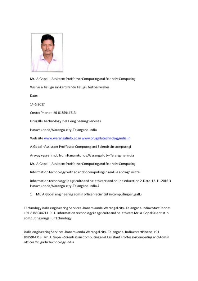 Mr. A.Gopal – AssistantProffessorComputingandScientistComputing. Wishu a Telugusankarti hinduTelugufestival wishes Date: 1...