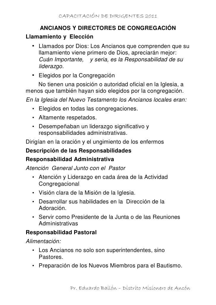 CAPACITACIÓN DE DIRIGENTES 2011     ANCIANOS Y DIRECTORES DE CONGREGACIÓNLlamamiento y Elección  • Llamados por Dios: Los ...