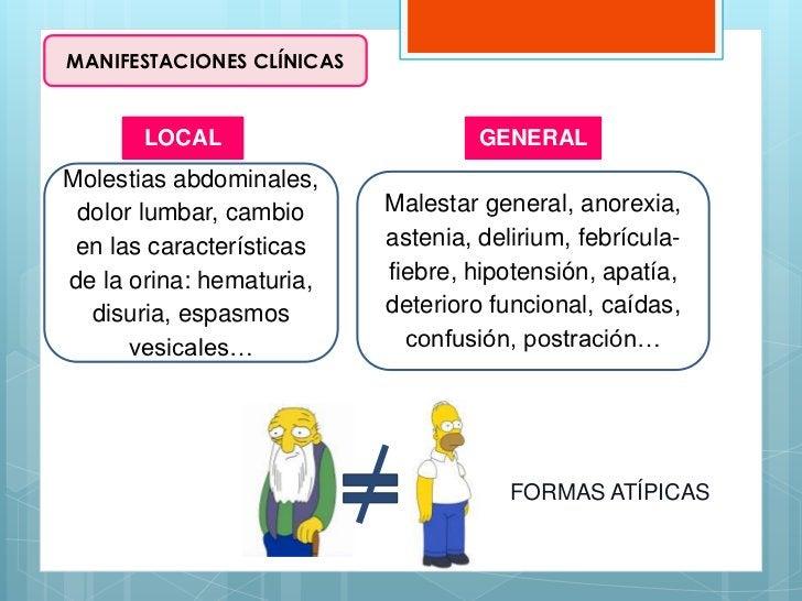 MANIFESTACIONES CLÍNICAS       LOCAL                        GENERALMolestias abdominales, dolor lumbar, cambio      Malest...