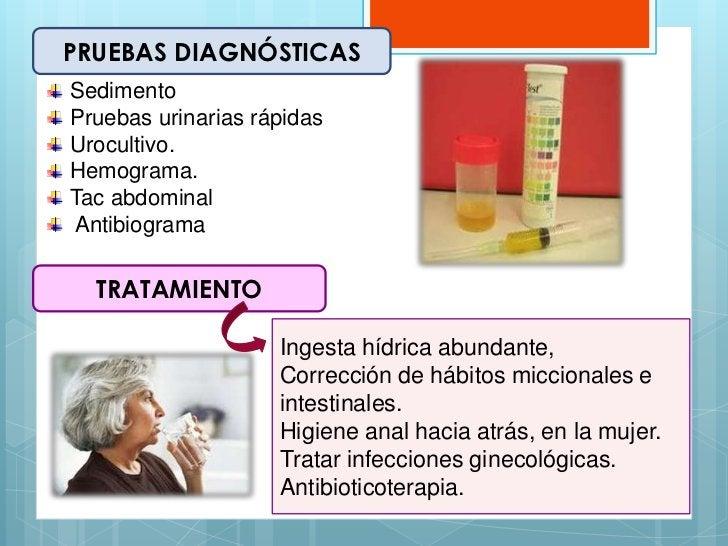 PRUEBAS DIAGNÓSTICASSedimentoPruebas urinarias rápidasUrocultivo.Hemograma.Tac abdominalAntibiograma  TRATAMIENTO         ...