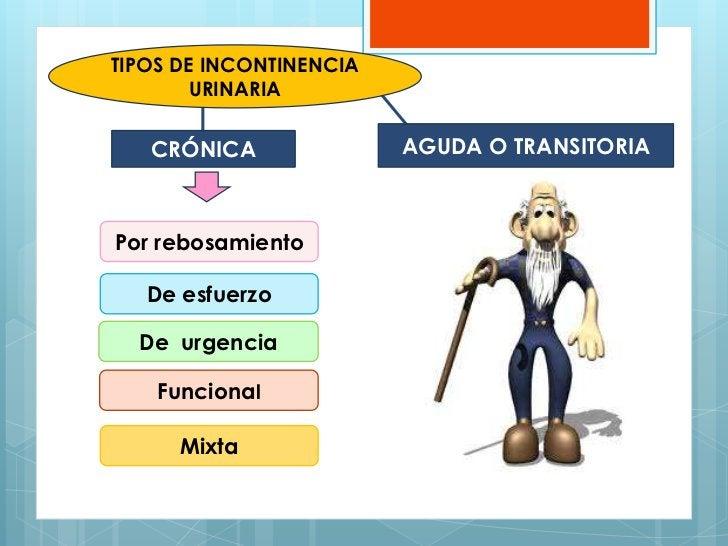 TIPOS DE INCONTINENCIA       URINARIA   CRÓNICA               AGUDA O TRANSITORIAPor rebosamiento   De esfuerzo  De urgenc...