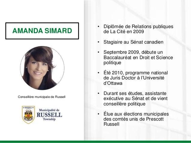 AMANDA SIMARD Conseillère municipale de Russell • Diplômée de Relations publiques de La Cité en 2009 • Stagiaire au Sénat ...