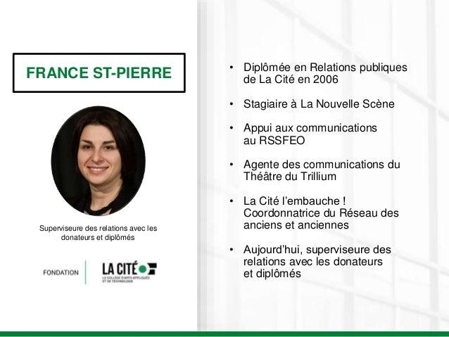 FRANCE ST-PIERRE Superviseure des relations avec les donateurs et diplômés • Diplômée en Relations publiques de La Cité en...