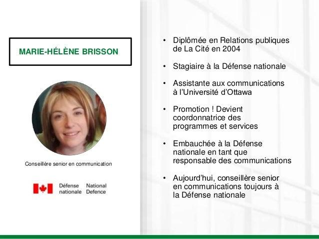 MARIE-HÉLÈNE BRISSON Conseillère senior en communication • Diplômée en Relations publiques de La Cité en 2004 • Stagiaire ...