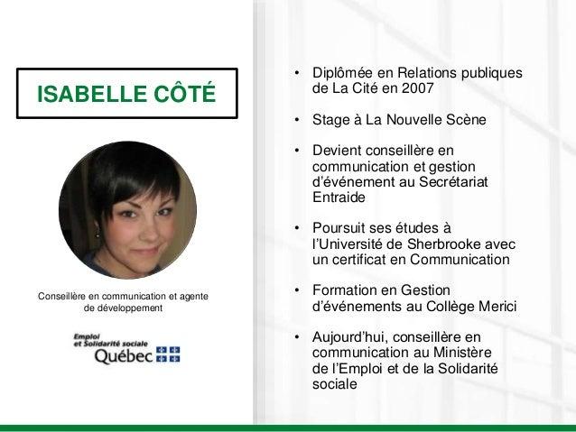 ISABELLE CÔTÉ Conseillère en communication et agente de développement • Diplômée en Relations publiques de La Cité en 2007...