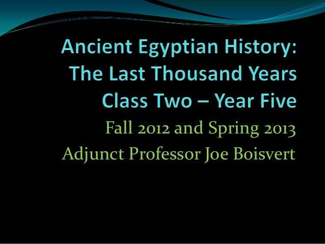 Fall 2012 and Spring 2013Adjunct Professor Joe Boisvert