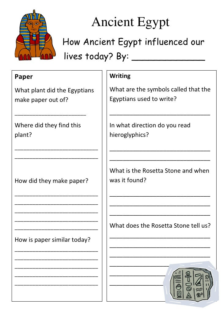 Printables Ancient Egypt Worksheets ancient egypt worksheet how influenced our lives today