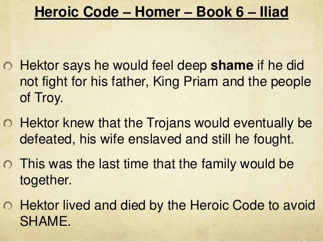 Describe the heroic code that is expressed in the Iliad.