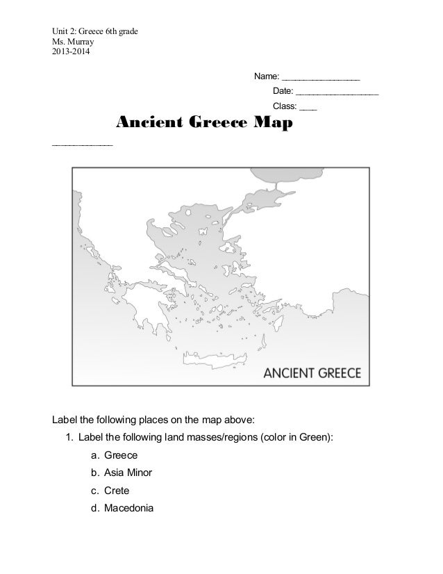 graphic regarding Map of Ancient Greece Printable named Historical greece map_worksheet