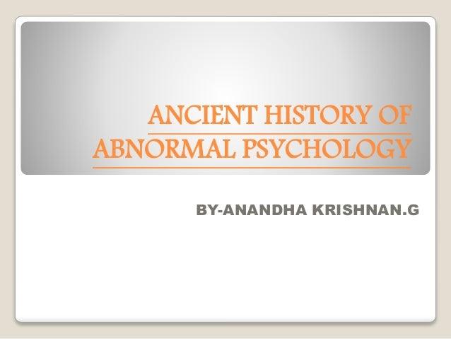 history of abnormal psychology essay
