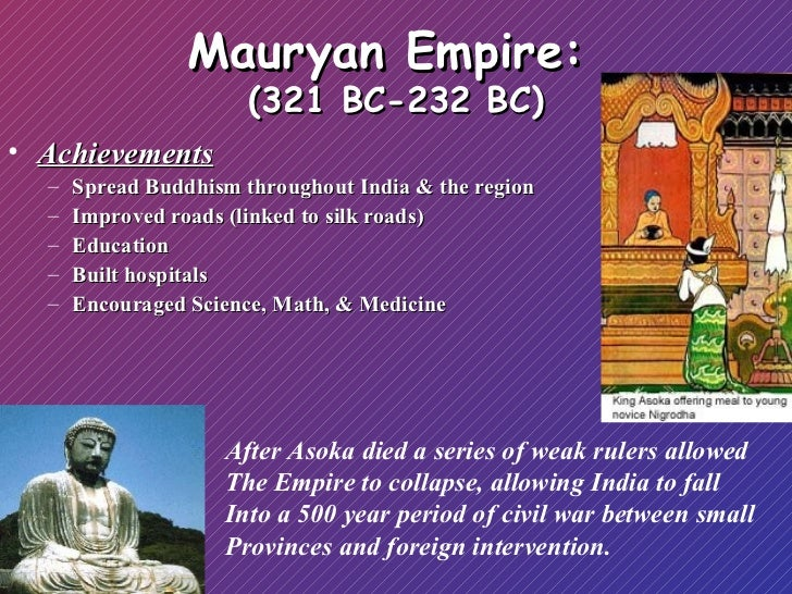 mauryan empire technology Start studying history multiple choice learn vocabulary the mauryan empire flourished under asoka a the technology of papermaking.