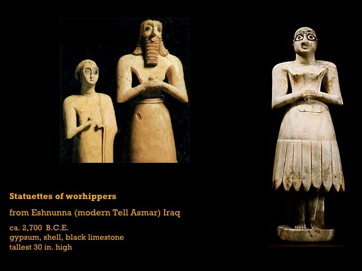 votive statues from tell asmar Ancient mesopotamian sculptures ancient mesopotamians com home: the tell asmar statues are stylized with large eyes and are in a pose of supplication.