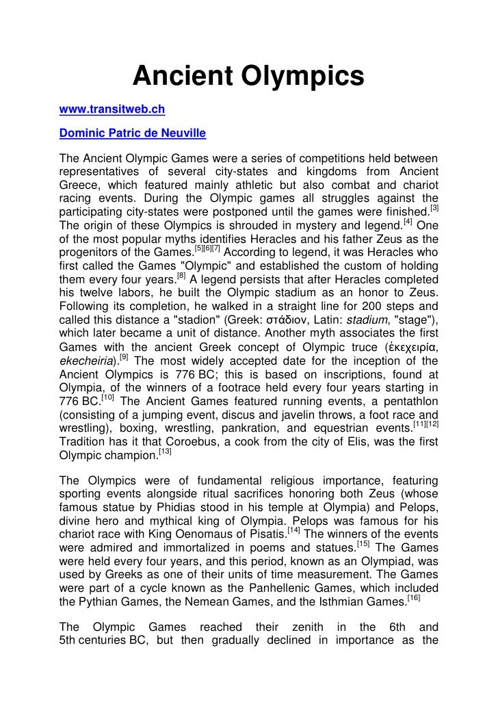 Ancient Olympicswww.transitweb.chDominic Patric de NeuvilleThe Ancient Olympic Games were a series of competitions held be...
