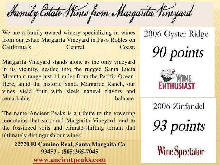 We are a family-owned winery specializing in wines from our estate Margarita Vineyard in Paso Robles on California's Centr...