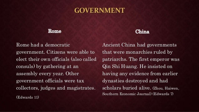ancient rome and ancient china their