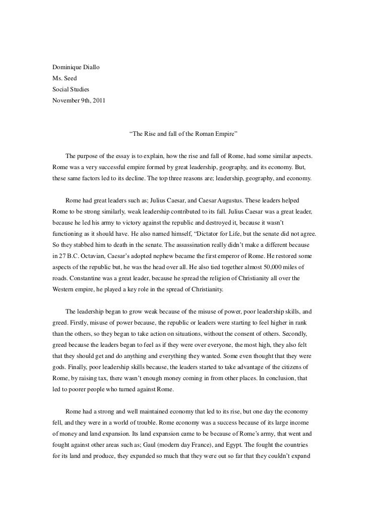 Fall Of The Roman Empire Essay  Thesis Examples In Essays also Writing High School Essays  Online Certification Programs