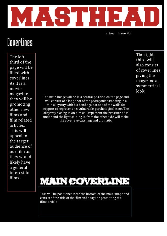 Price:  The left third of the page will be filled with coverlines. As it is a movie magazine they will be promoting other ...