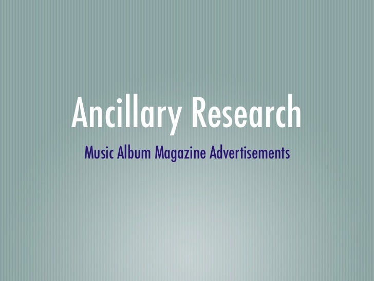 Ancillary ResearchMusic Album Magazine Advertisements