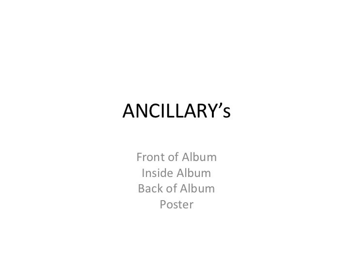 ANCILLARY's Front of Album  Inside Album Back of Album      Poster