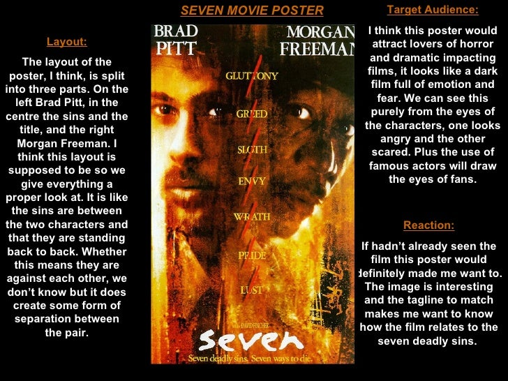se7en movie essay Read this full essay on the seven deadly sins a film review of se7en written by alison friedt sin creates [an inclination] to sin it engenders vice by r.