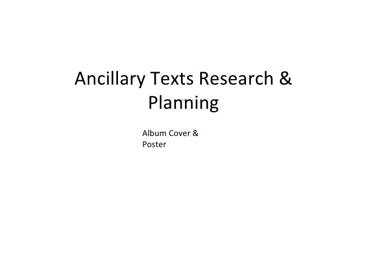 Ancillary Texts Research & Planning Album Cover & Poster