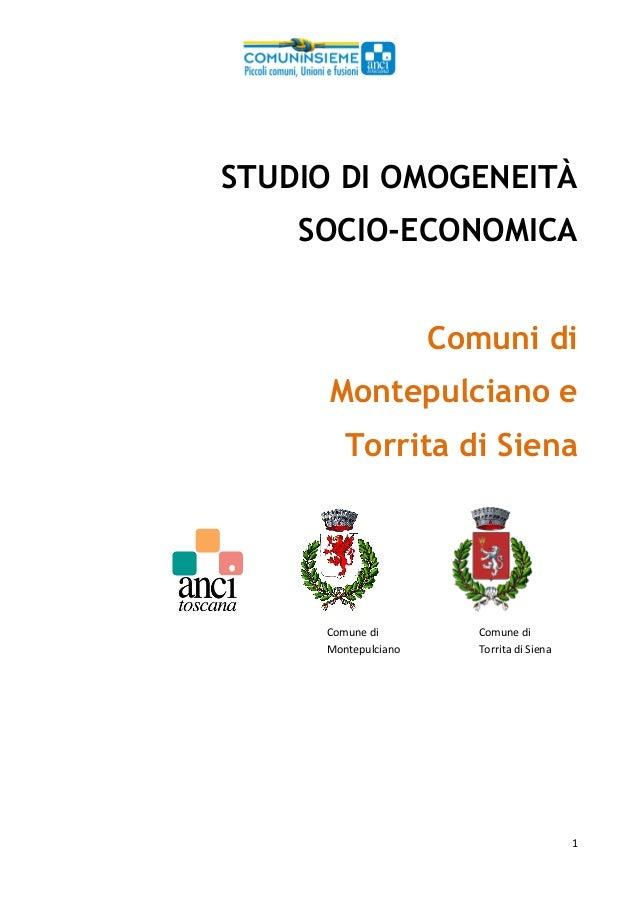 1  STUDIO DI OMOGENEITÀ SOCIO-ECONOMICA Comuni di Montepulciano e Torrita di Siena        Comunedi   Comune...