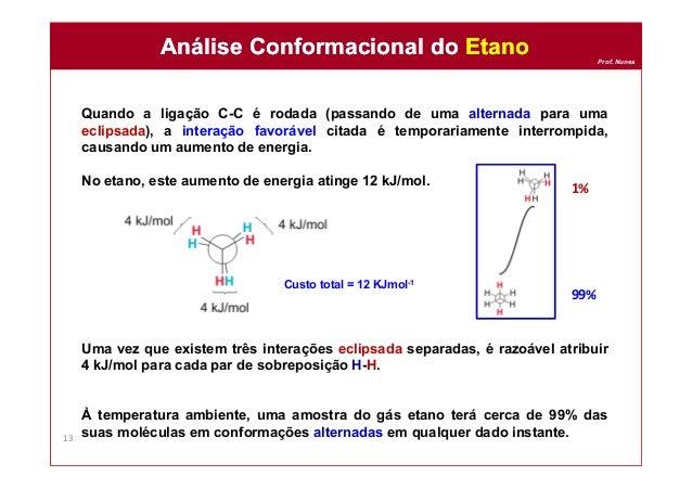 Prof. Nunes Quando a ligação C-C é rodada (passando de uma alternada para uma eclipsada), a interação favorável citada é t...