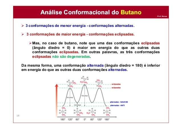 Prof. Nunes  3 conformações de menor energia - conformações alternadas.  3 conformações de maior energia - conformações ...