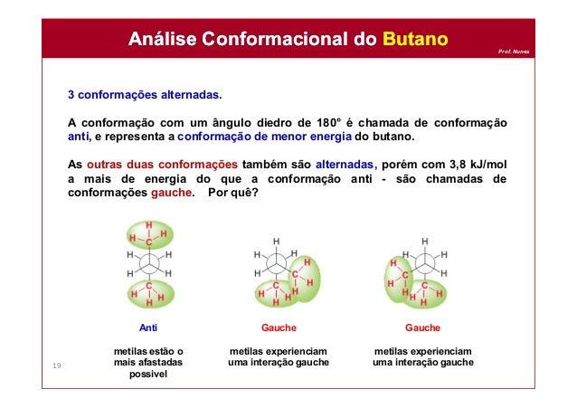 Prof. Nunes 3 conformações alternadas. A conformação com um ângulo diedro de 180° é chamada de conformação anti, e represe...