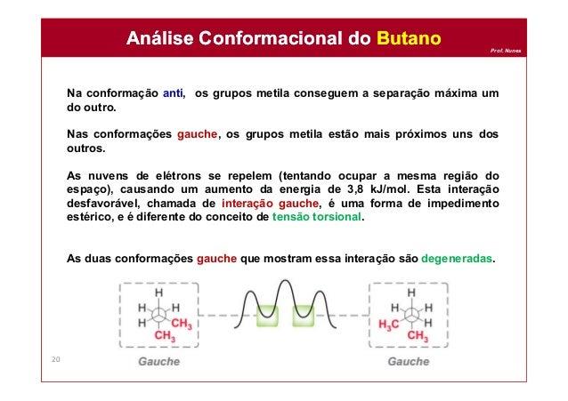 Prof. Nunes Na conformação anti, os grupos metila conseguem a separação máxima um do outro. Nas conformações gauche, os gr...