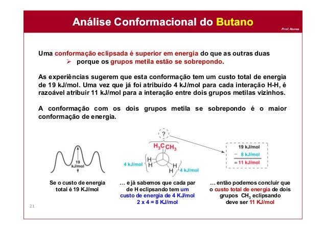 Prof. Nunes Uma conformação eclipsada é superior em energia do que as outras duas  porque os grupos metila estão se sobre...
