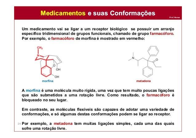 Prof. Nunes Um medicamento vai se ligar a um receptor biológico se possuir um arranjo específico tridimensional de grupos ...