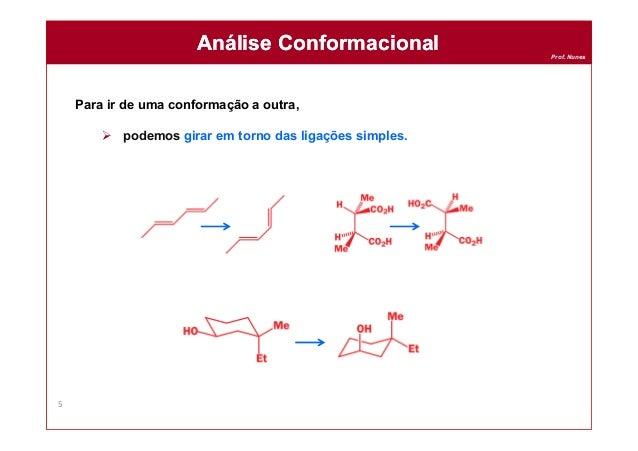 Prof. Nunes Para ir de uma conformação a outra,  podemos girar em torno das ligações simples. Análise ConformacionalAnáli...